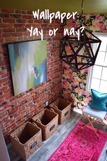 faux brick wallpaper laundry room
