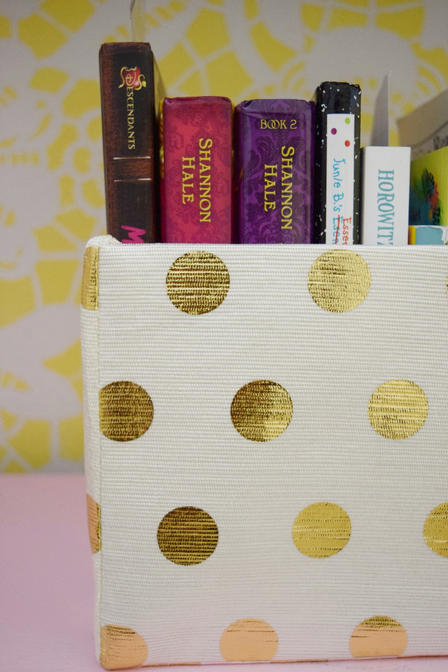 gold polka dot basket